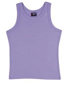 Womens Rib Singlet - Lavender, 14
