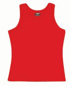 Womens Rib Singlet - Red, 14