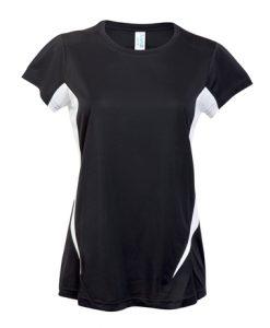 Womens Sports Tee - Black/White, 18