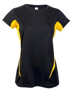 Womens Sports Tee - Black/Yellow, 14