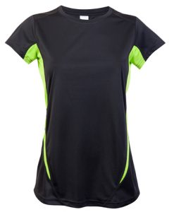 Womens Sports Tee - Charcoal/Lime, 12