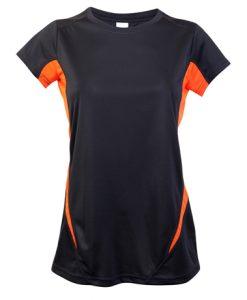 Womens Sports Tee - Charcoal/Orange, 18