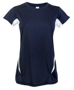 Womens Sports Tee - Navy/White, 8