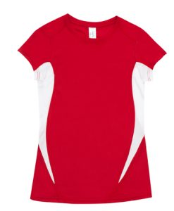 Womens Sports Tee - Red/White, 12