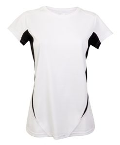 Womens Sports Tee - White/Black, 22
