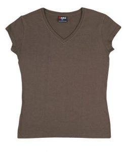 Womens Standard V-Neck - Brown, 14
