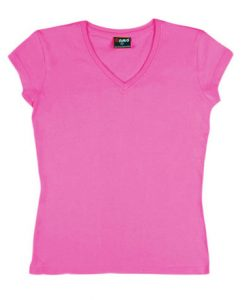 Womens Standard V-Neck - Hot pink, 8