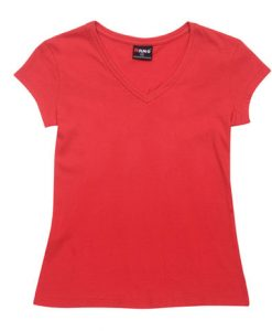 Womens Standard V-Neck - Red, 8