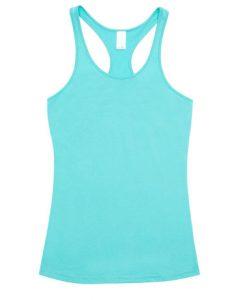 Womens T-back Singlet - Aqua, 8