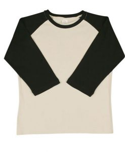 Womens Two Tone 3/4 Tee - Bone/Black, 14
