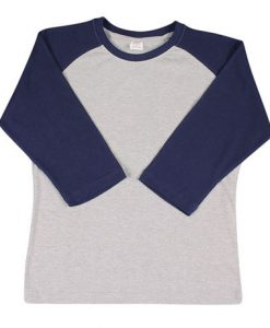 Womens Two Tone 3/4 Tee - Grey/Navy, 12