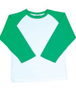 Womens Two Tone 3/4 Tee - White Body/Emerald, 12