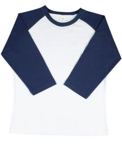 Womens Two Tone 3/4 Tee - White Body/Navy Trim, 14