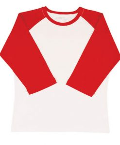 Womens Two Tone 3/4 Tee - White Body/Red Trim, 14