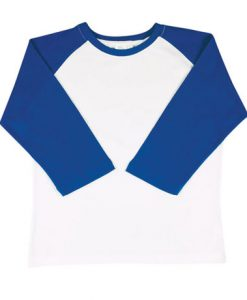 Womens Two Tone 3/4 Tee - White Body/Royal Trim, 8