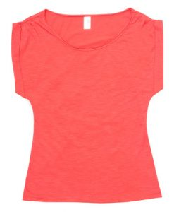 Womens Wide Tee - Coral Red, 12